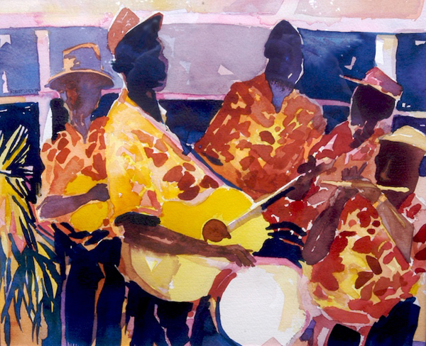 """""""Nevisian String Band"""", by Robert Leedy, 1992, watercolor on paper, Collection of Amy Carol Roberts, Neptune Beach,Florida"""