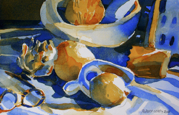 """Artichoke, fruit, tastevin, glasses & mallet in two colors"", by Robert Leedy, 2008, watercolor on Arches 140 lb Cold Press paper, Collection of the artist"