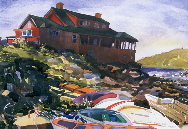 """Red House - Monhegan Island, Maine"", by Robert Leedy, 2005, watercolor on paper, Collection of the Artist"