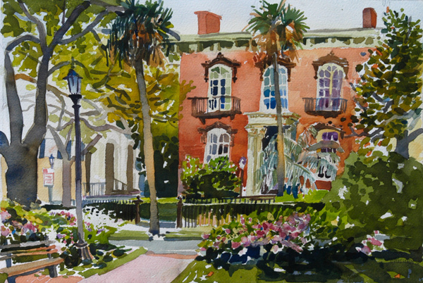 """Mercer-Williams House, Savannah"", by Robert Leedy, 2008, watercolor on Arches Cold Press paper, 12.75 x 18.75 inches, Collection of the Artist"
