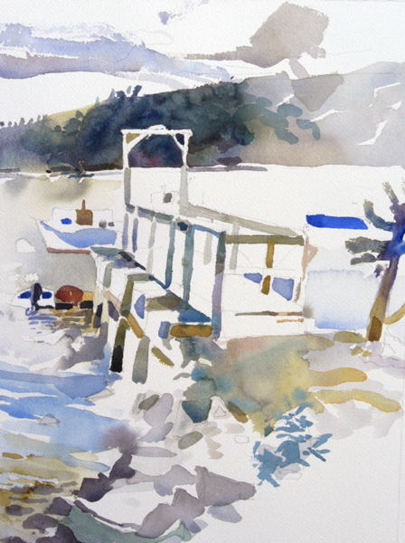 """Amy's Dock"", by Robert Leedy, 2008, watercolor on Arches 140 lb. Cold Press paper,"