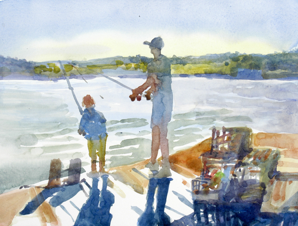 """Fishing Lesson"", by Robert Leedy, 2008, watercolor on Arches Hot Press paper"