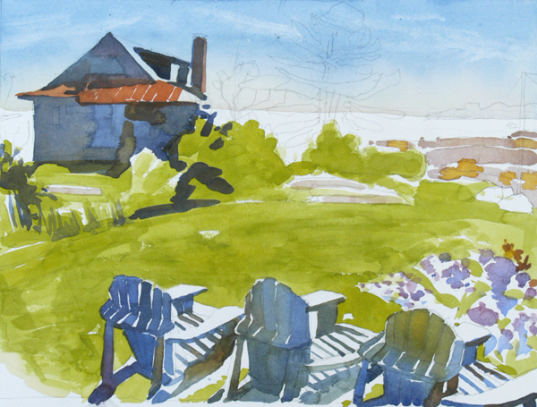 """Front Row Seats"", by Robert Leedy, 2008, watercolor on Arches 140 lb. Cold Press paper"