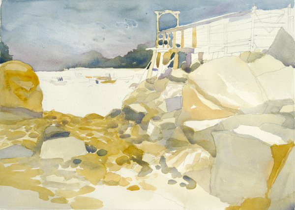 """Low Tide, Owls Head Harbor"", by Robert Leedy, 2008, watercolor on Arches 140 lb. Cold Press paper, 16"" x 22"""