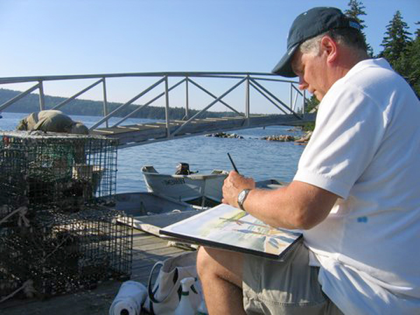"Robert painting ""Fishing Lesson"" at Bartlett's Landing, Maine, August 2008, photo by Barbara Sroka."