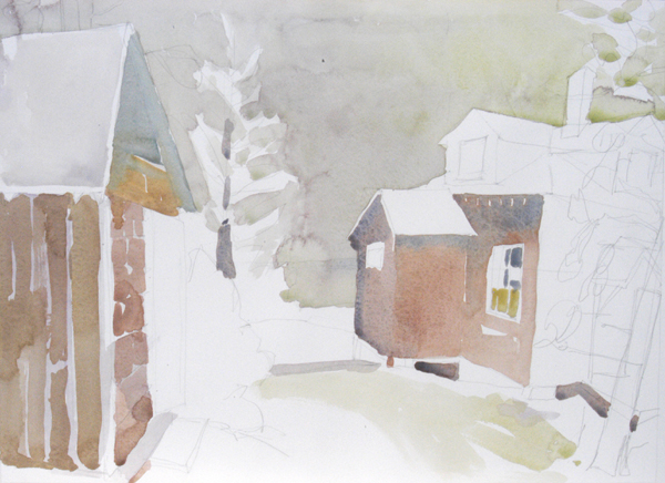 """The Spruce House, Marshall Point, Maine"", by Robert Leedy, 2008, watercolor on Arches 140 lb. Hot Press paper"