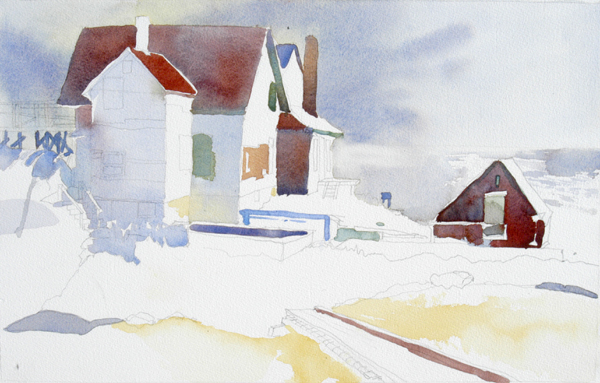 """Coast Guard Station at Manana Island, Maine"", by Robert Leedy, 2008, watercolor on Fabriano Uno 140 lb. Cold Press paper, 20.75"" x 13"" (Unfinished)"