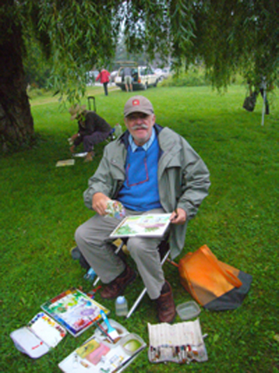 Jerry Motelow painting plein air