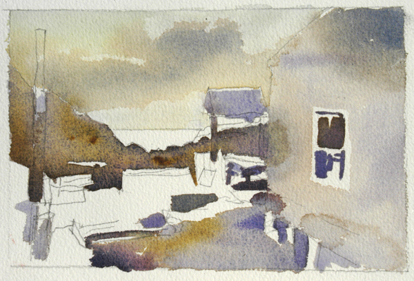 """Late Afternoon, Monhegan Island, Maine"", by Robert Leedy, 2008, watercolor on Arches 140 lb. Rough paper, 5.75"" x 9"" (Unfinished)"