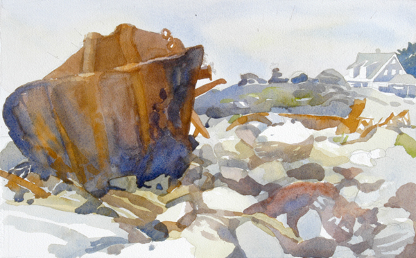 """Shipwreck at Lobster Cove, Monhegan Island, Maine"", by Robert Leedy, 2008, watercolor on Fabriano Uno 140 lb. Cold Press paper, 21"" x 13"" (Unfinished)"