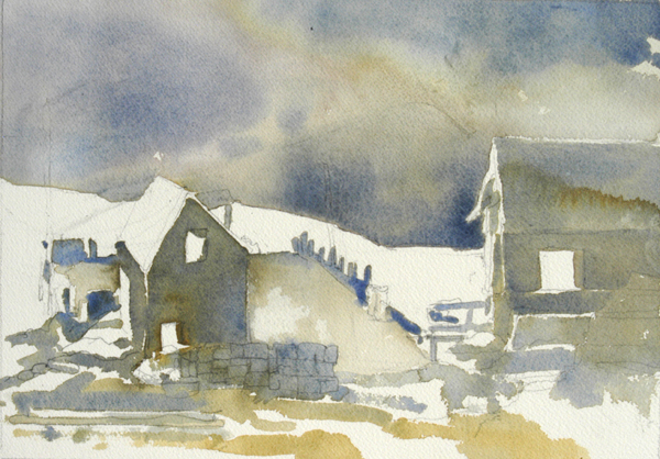 """Monhegan Fog"", by Robert Leedy, 2008, watercolor on Arches 140 lb. Cold Press paper, 11.5"" x 8.75"" (Unfinished)"