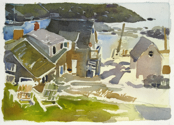 """Monhegan Morning"", by Robert Leedy, watercolor on Arches 140 lb. Cold Press paper, 10.5"" x 7.5"""