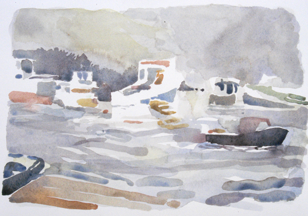 """Owls Head Harbor Fog"", by Robert Leedy, 2008, watercolor on Arches 140 lb. Hot Press paper"
