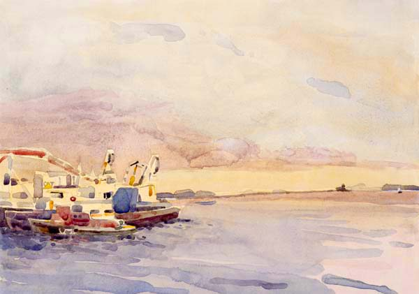 """View of Rockland Harbor"", by Robert Leedy, 2008, archival giclee print on Hahnemühle William Turner 310 gsm paper"