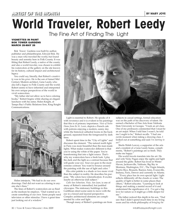 """World Traveler, Robert Leedy: The Fine Art of Finding The Light"""
