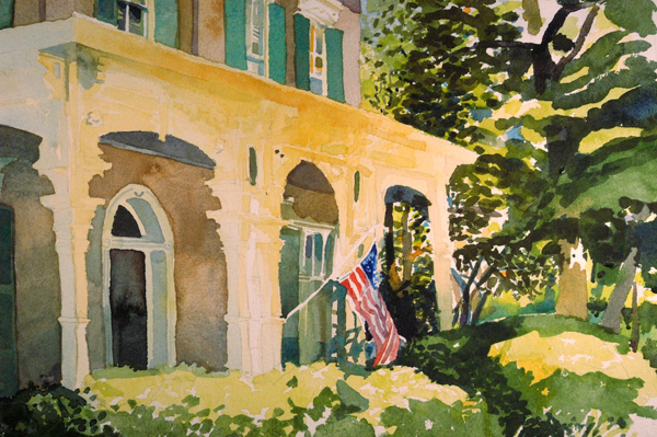 """Glover House, Marietta"" (detail and unfinished), by Robert Leedy, watercolor on Arches 300 lb. Cold Press paper, 29.5"" x 22"" (full size)"