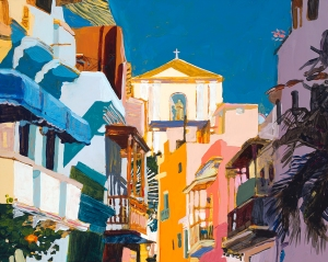 """Old San Juan"", by Robert Leedy, acrylic on cradled panel."
