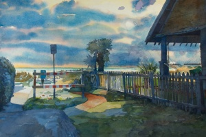 a watercolor of an Atlantic Beach, Florida beachside scene by artist, Robert Leedy.