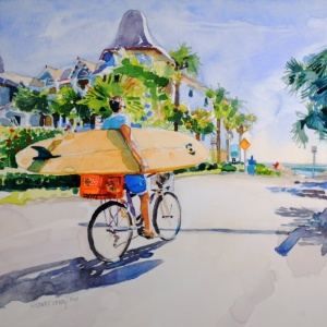 """Longboard Day (Beach & 7th)"", by Robert Leedy, watercolor on cradled Aquabord, 12"" x 12""."