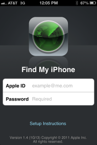 Find My iPhone, the App that tracks an iPad or iPhone via GPS.