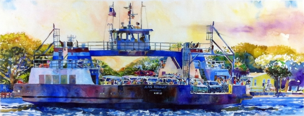 """Island Connection"" by Robert Leedy watercolor on 140 lb. Fabriano Artistico paper, 21.5"" x 55"""