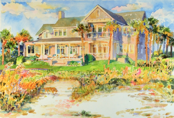 "The final, corrected painting or the AFTER version. ""A Place in the Sun"", by Robert Leedy, watercolor on Arches 300 lb. Cold Press paper, 17.25"" x 26.25"", Collection of Mr. & Mrs. Barnwell Daley, Ponte Vedra Beach, Florida."