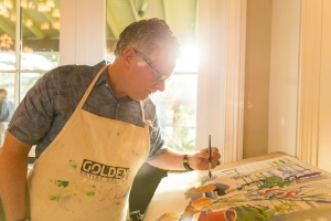 Robert Leedy painting at The Cultural Center of Ponte Vedra Beach's Farm to Table event, May 1, 2014. Painting live before an audience can be a bit nerve -racking at times. I managed to pull this one off successfully. PHOTO: Ryan Ketterman