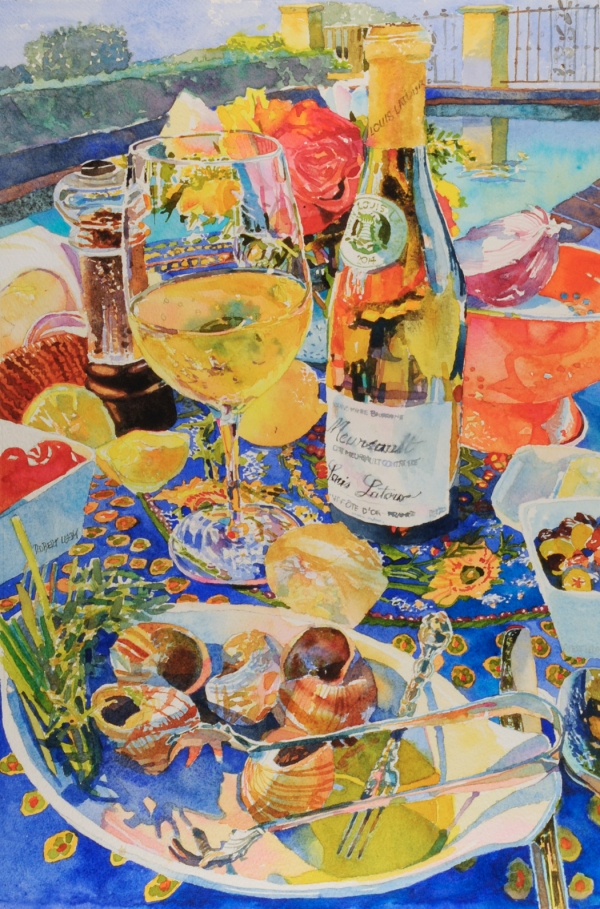 """l'escargotmeursault"", by Robert Leedy, watercolor on Arches 300 lb. Cold Press paper, 18"" x 12"", commissioned work."