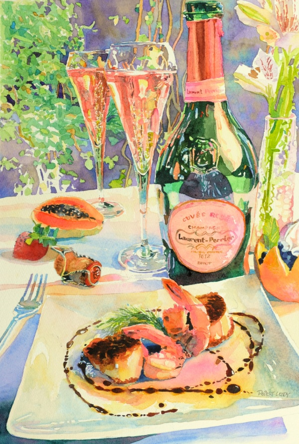 """A Course in Pink"", by Robert Leedy, watercolor on Arches 300 lb. Cold Press paper, 18"" x 12"", Collection of The Wine Cellar, Jacksonville, Florida."