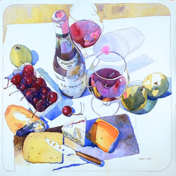 """au revoir 1970 la Tache"", by Robert Leedy, watercolor on Fabriano Artistico 140 lb. Cold Press paper, 36"" x 36"", Collection of The Wine Cellar, Jacksonville, Florida."