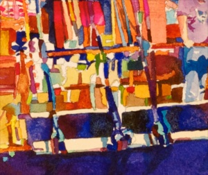 """Day Trip"" [DETAIL], by Robert Leedy, watercolor on Arches 300 lb. Cold Press paper. There are wonderful abstract compositions throughout this painting. I wasn't necessarily painting ""things"" - I was composing and designing with color. [Click to enlarge image]."